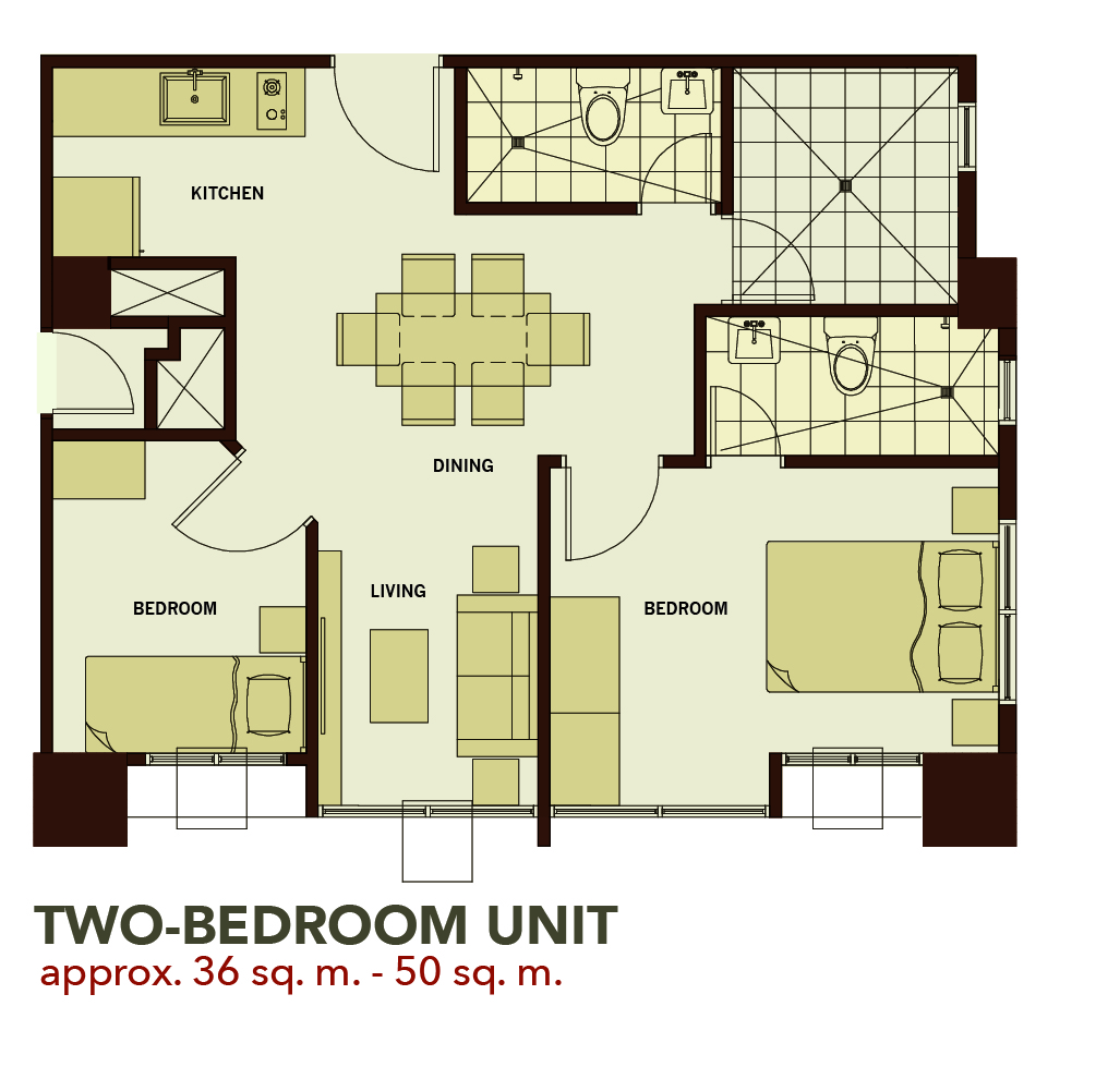 One bedroom apartment floor plans sq m gurus floor for Two bedroom plan